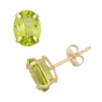 Peridot 10k Gold Oval Stud Earrings