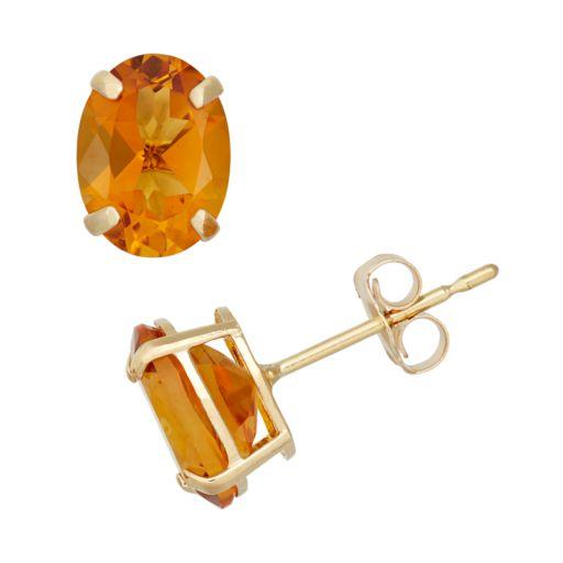 Citrine 10k Gold Oval Stud Earrings