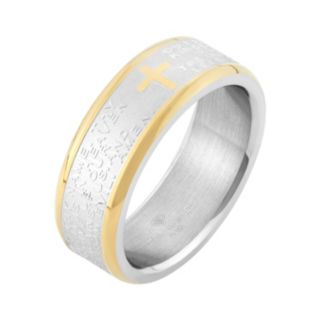 Two Tone Stainless Steel '' The Lord's Prayer'' Cross Wedding Band - Men