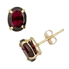 Garnet 10k Gold Oval Stud Earrings