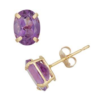 Amethyst 10k Gold Oval Stud Earrings