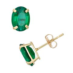 Lab-Created Emerald 10k Gold Oval Stud Earrings