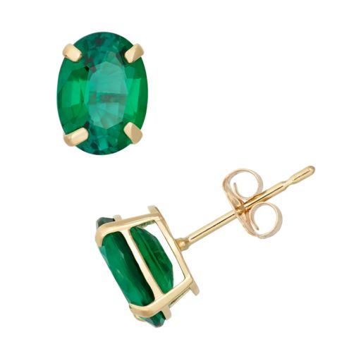 Lab-Created Emerald 10k Gold Oval Stud Earrings