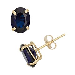 Lab-Created Sapphire 10k Gold Oval Stud Earrings