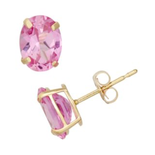 Lab-Created Pink Sapphire 10k Gold Oval Stud Earrings