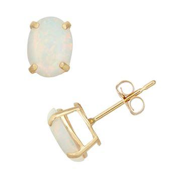 Lab-Created Opal 10k Gold Oval Stud Earrings