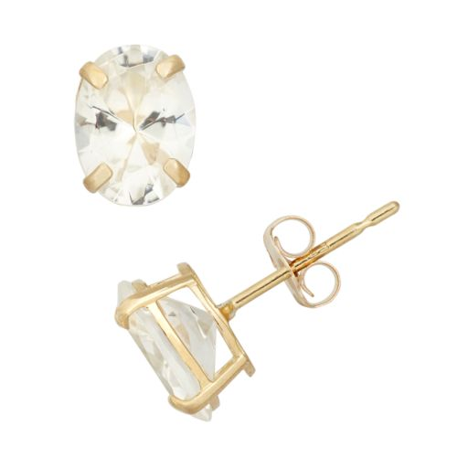Lab-Created White Sapphire 10k Gold Oval Stud Earrings