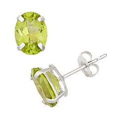Peridot 10k White Gold Oval Stud Earrings