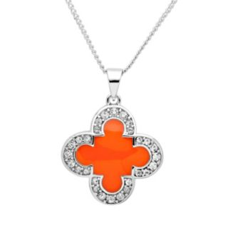 Marie Claire Jewelry Crystal Silver Tone Clover Pendant Necklace