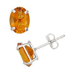 Citrine 10k White Gold Oval Stud Earrings