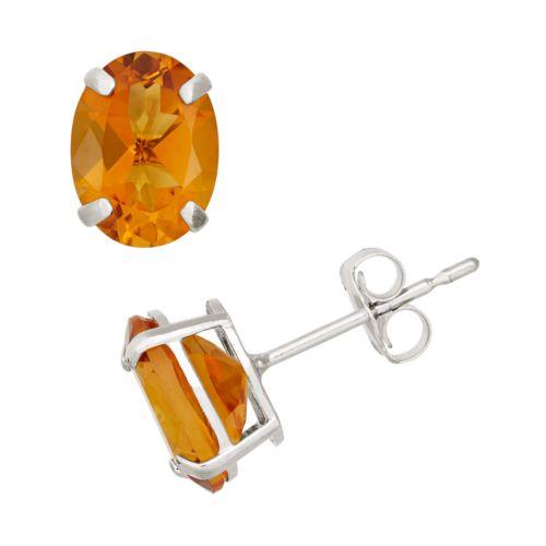 Citrine 10k White Gold Oval Stud Earrings