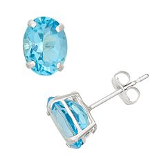 Swiss Blue Topaz 10k White Gold Oval Stud Earrings