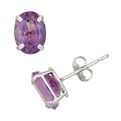 Amethyst 10k White Gold Oval Stud Earrings