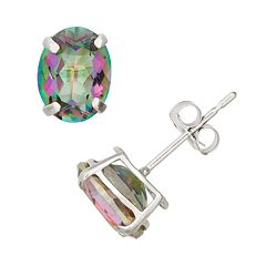 Mystic Topaz 10k White Gold Oval Stud Earrings