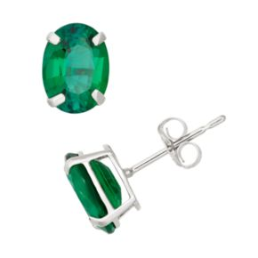 Lab-Created Emerald 10k White Gold Oval Stud Earrings