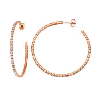 Duchess of Dazzle Crystal 14k Rose Gold-Plated Hoop Earrings
