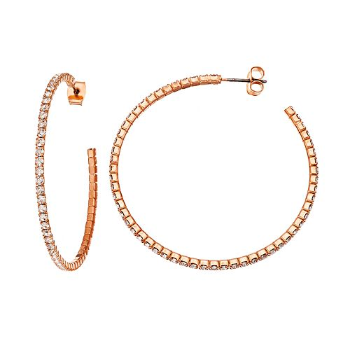 Duchess of Dazzle Crystal 14k Rose Gold-Plated Hoop Earrings