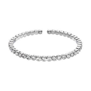 Duchess of Dazzle Crystal Silver Tone Bangle Bracelet