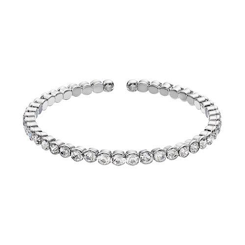 Duchess of Dazzle Crystal Silver Tone Bangle Bracelet