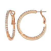 Duchess of Dazzle Crystal 14k Rose Gold-Plated Inside-Out Hoop Earrings