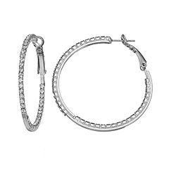 Duchess of Dazzle Crystal Silver Tone Inside-Out Hoop Earrings