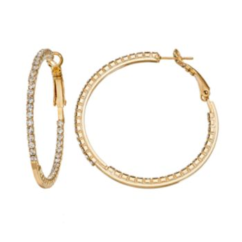 Duchess of Dazzle Crystal 14k Gold-Plated Inside-Out Hoop Earrings