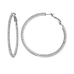 Duchess of Dazzle Crystal Silver Tone Inside-Out Hoop Earrings
