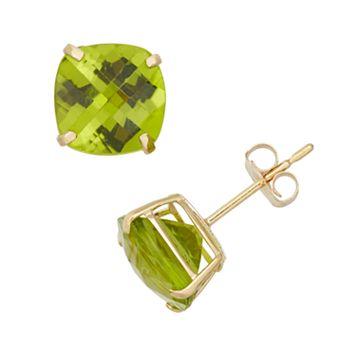 Peridot 10k Gold Stud Earrings