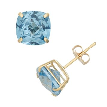Swiss Blue Topaz 10k Gold Stud Earrings