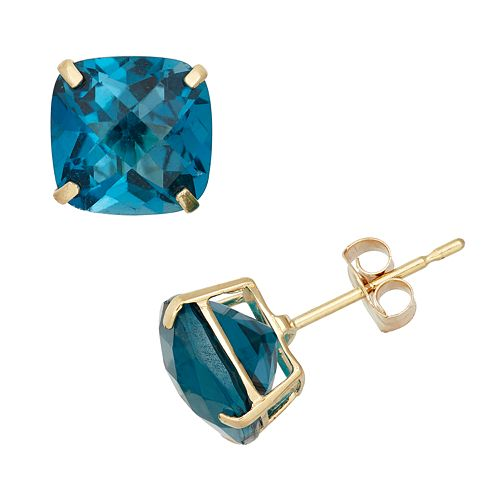 London Blue Topaz 10k Gold Stud Earrings