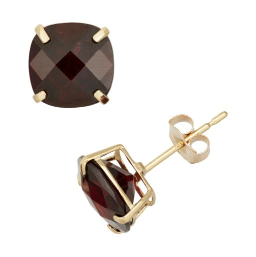 Garnet 10k Gold Stud Earrings