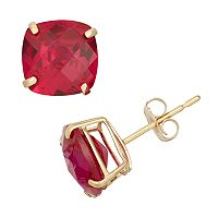 Lab-Created Ruby 10k Gold Stud Earrings