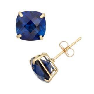 Lab-Created Sapphire 10k Gold Stud Earrings
