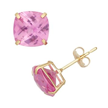 Lab-Created Pink Sapphire 10k Gold Stud Earrings