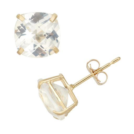 Lab-Created White Sapphire 10k Gold Stud Earrings