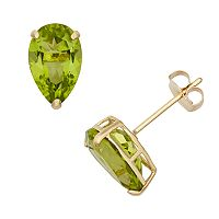 Peridot 10k Gold Teardrop Stud Earrings