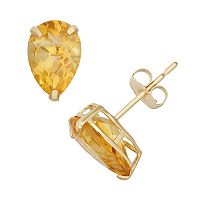 Citrine 10k Gold Teardrop Stud Earrings