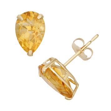 Citrine 10k Gold Teardrop Stud Earrings