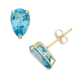 Swiss Blue Topaz 10k Gold Teardrop Stud Earrings