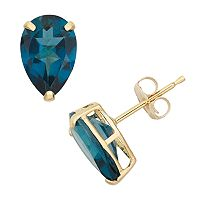 London Blue Topaz 10k Gold Teardrop Stud Earrings