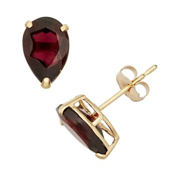 Garnet 10k Gold Teardrop Stud Earrings