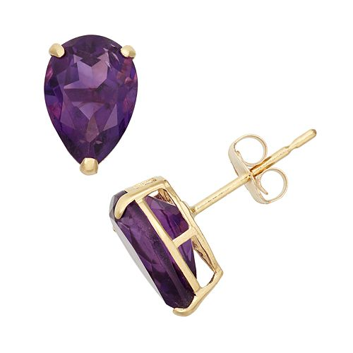 Amethyst 10k Gold Teardrop Stud Earrings