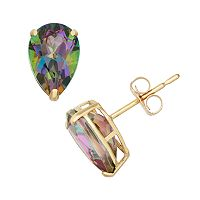 Mystic Topaz 10k Gold Teardrop Stud Earrings