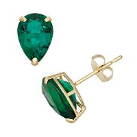 Lab-Created Emerald 10k Gold Teardrop Stud Earrings