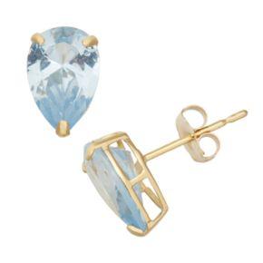 Lab-Created Aquamarine 10k Gold Teardrop Stud Earrings