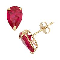 Lab-Created Ruby 10k Gold Teardrop Stud Earrings