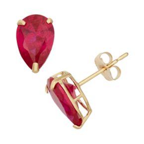 Lab-Created Ruby 10k Gold Teardrop Stud Earrings