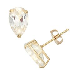 Lab-Created White Sapphire 10k Gold Teardrop Stud Earrings