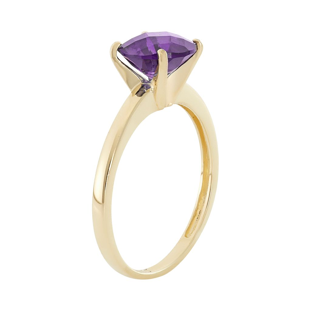 Amethyst 10k Gold Solitaire Ring