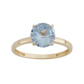 Lab-Created Aquamarine 10k Gold Ring